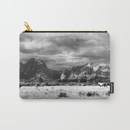 Horse and Grand Teton (Black and White) Carry-All Pouch