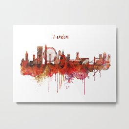 London Skyline watercolor Metal Print