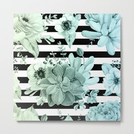 Succulents in the Garden Teal Blue Green Gradient with Black Stripes Metal Print