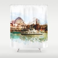 finland Shower Curtains featuring Helsinki city panorame, Finland by jbjart