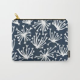 Queen Anne's Lace – White on Navy Carry-All Pouch