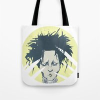 edward scissorhands Tote Bags featuring edward scissorhands by Berkay Daglar