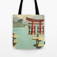 travel poster Tote Bags featuring Kaiju Travel Poster by Duke Dastardly