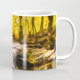 Wild waterfalls flowing through a forest Coffee Mug