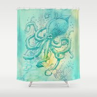 kraken Shower Curtains featuring Kraken by pakowacz