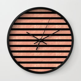 Rose Gold Stripes on Black Wall Clock