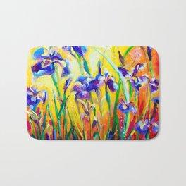 Alpha and Omega Impressionist Blue Irises Bath Mat
