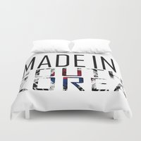 korea Duvet Covers featuring Made In South Korea by VirgoSpice