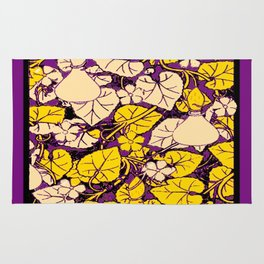 Grape Purple & Cream Garden Vines Yellow Design Rug