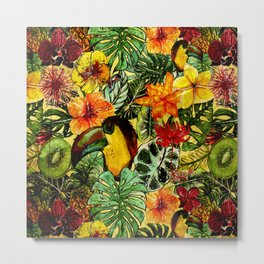 Tropical Vintage Exotic Jungle Flower Flowers - Floral watercolor pattern Metal Print