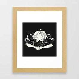 Anime Girl Hugging Many Black Cats Framed Art Print