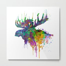 Moose Head Watercolor Silhouette Metal Print