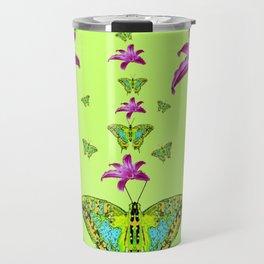 LIME COLOR PURPLE LILIES GREEN MOTHS Travel Mug