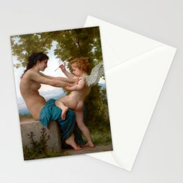 William-Adolphe Bouguereau A Young Girl Defending Herself against Eros Stationery Cards