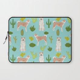 Akita cactus southwest dog pattern dog breed pet portraits by pet friendly Laptop Sleeve