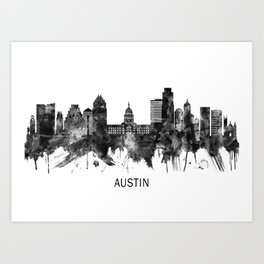 Austin Texas Skyline BW Art Print