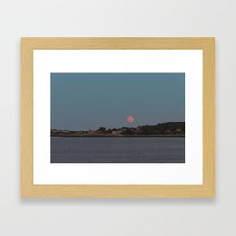 Full Strawberry Moon Rising over Rockport Framed Art Print