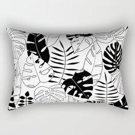 black and white tropical minimal leaves poster Rectangular Pillow
