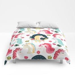 Pink Mint Unicorn Pattern Comforters