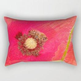 BEE & POPPY FLOWER  Rectangular Pillow