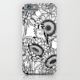Sunflowers and goldfinches in black and white iPhone Case