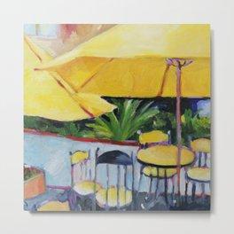 Yellow Umbrellas Metal Print
