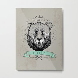 Hipster vintage bear. Wild life. Metal Print