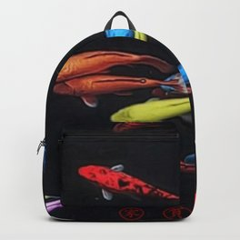 Chinese Symbols 'Peace & Family' Koi Pond Decorative Painting by Jeanpaul Ferro Backpack