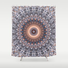 Warm center of ice crystal mandala Shower Curtain