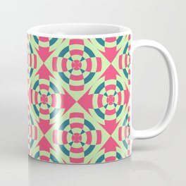 Simple geometric stripe flower red and green Coffee Mug