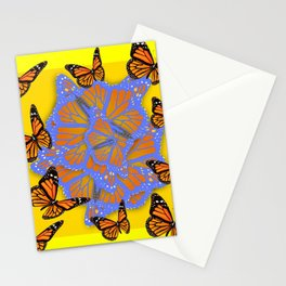 MONARCH BUTTERFLIES ABSTRACT ON YELLOW-GOLD Stationery Cards