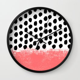 Lola - painted dot minimal coral black and white trendy abstract home decor Wall Clock