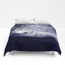 Sunset with hazel catkins Comforters