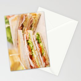 Club sandwich on a rustic table in bright light Stationery Cards