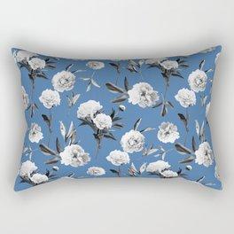 Peonies in Her Dreams Mono Blue Rectangular Pillow