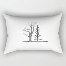 Tree Friends Black and White Illustration Rectangular Pillow
