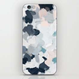 Navy Indigo Blue Blush Pink Gray Mint Abstract Air Clouds Art Sky Painting iPhone Skin