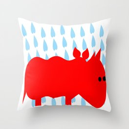 RED RHINO in rain Throw Pillow