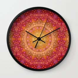Love Will Find A Way -- Kaleidescope Mandala in the colors of Love Wall Clock