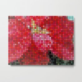 Mottled Red Poinsettia 2 Mosaic Metal Print