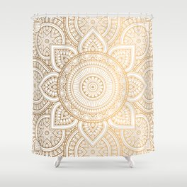 Gold Mandala Pattern Illustration With White Shimmer Shower Curtain