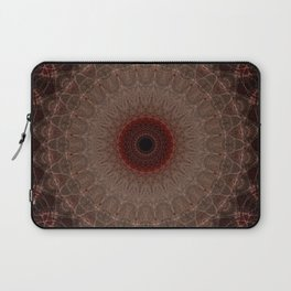 Brown mandala with red sun Laptop Sleeve