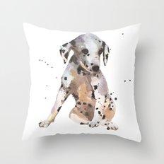 dalmatian, dalmatian puppy, dalmatian painting, cute puppy,  Throw Pillow
