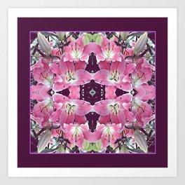 PINK SPRING LILY FLOWERS PURPLE GARDEN Art Print
