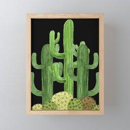 Desert Vacay Three Cacti on Black Framed Mini Art Print