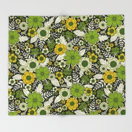 Modern Yellow & Green Floral Pattern Throw Blanket