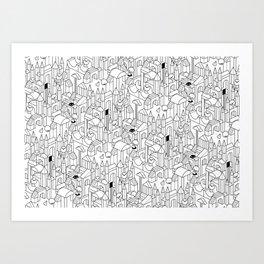 Little Escher's Building Blocks Art Print