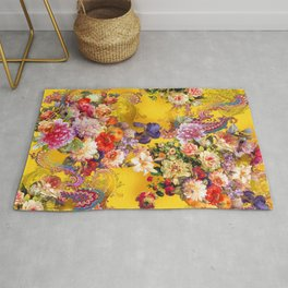 Seamless background with beautiful flowers and leaves. spring summer background Rug