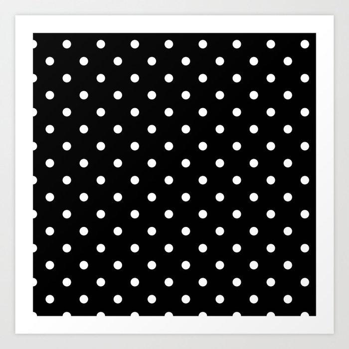 Black white polka dots art print
