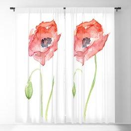 Red Poppy Flower Flowers Blackout Curtain